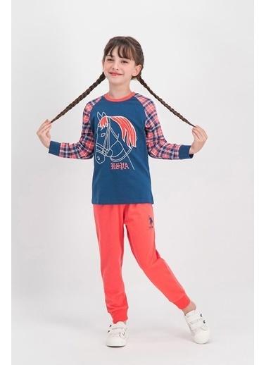 U.S. Polo Assn. U.S. Polo Assn Lisanslı Ekose Lacivert Kız Çocuk Pijama Takımı Lacivert